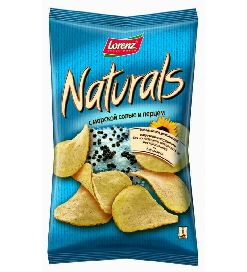"""Чипсы картофельные """"Naturals"""" с морской солью и перцем"""