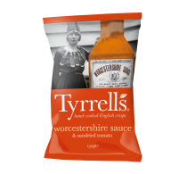 "Potato chips ""Tyrrells"" with worcesters sauce and dried tomatoes"