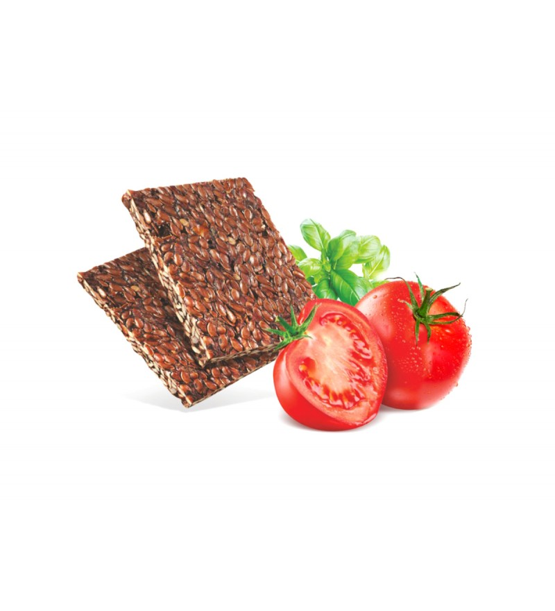 "Flax breads ""Ecofermer"" with tomato and basil"