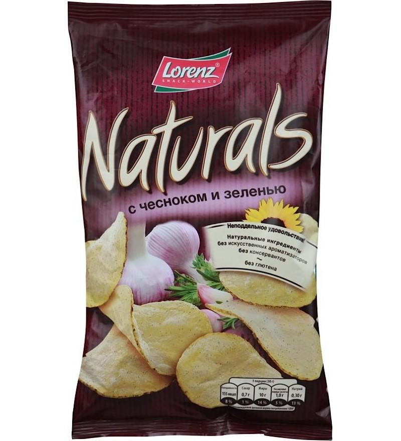"""Чипсы картофельные """"Naturals"""" с чесноком и зеленью"""