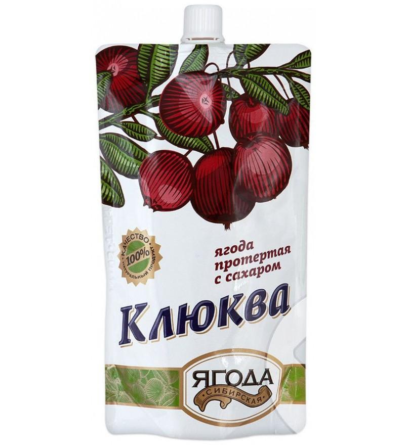 Клюква протертая с сахаром Сибирская ягода