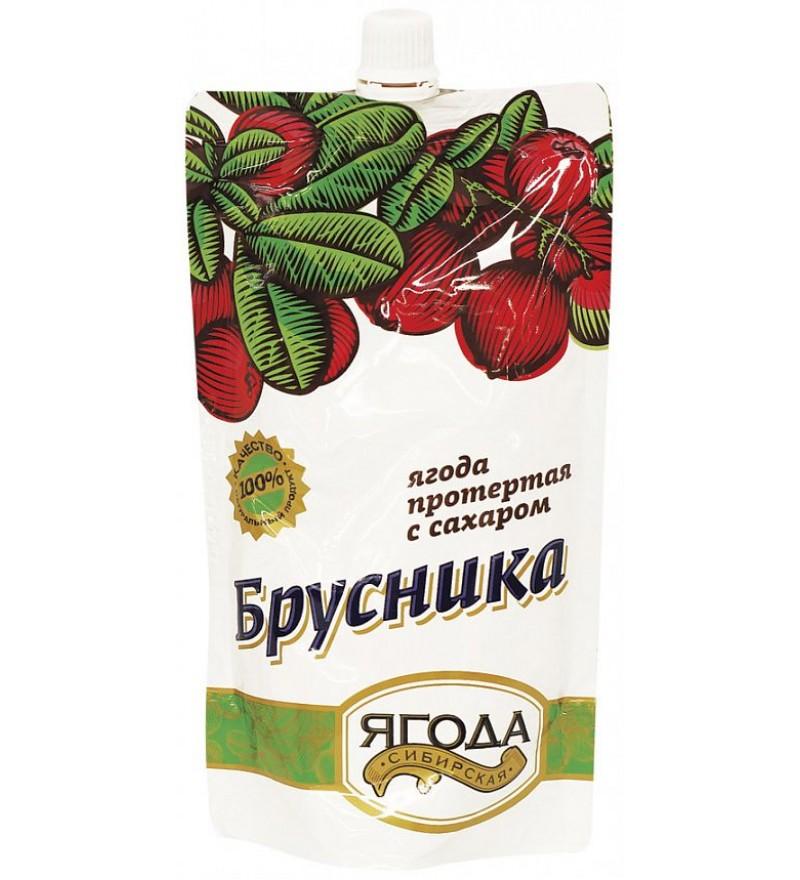 Брусника протертая с сахаром Сибирская ягода