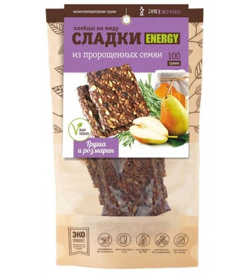 """Хлебцы на меду """"Груша и розмарин"""" СЛАДКИ ENERGY"""